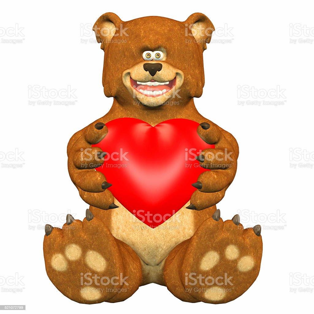 Illustration of a happy bear holding a heart stock photo