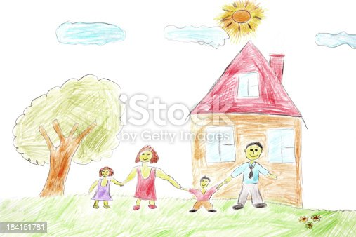 istock Illustration of a happy family with a tree and house 184151781