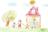 Illustration of a happy family with a tree and house