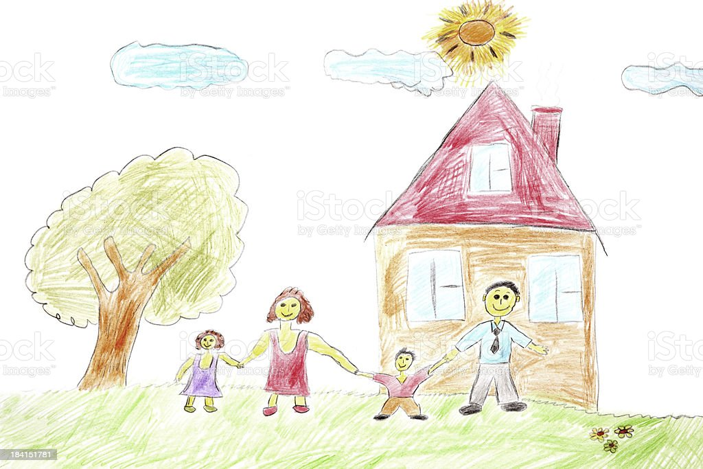 Illustration of a happy family with a tree and house stock photo