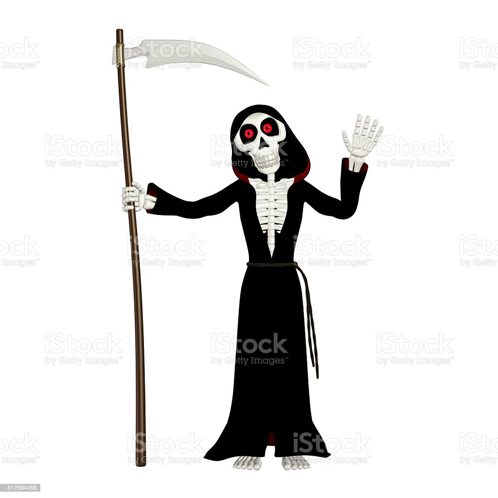Illustration of a happy grim reaper stock photo