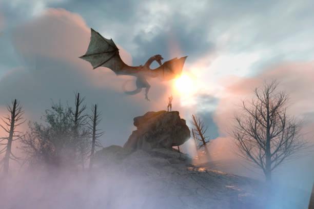 3d ilustración de un caballero dragón lucha, dragón versus hombre - dragón fotografías e imágenes de stock