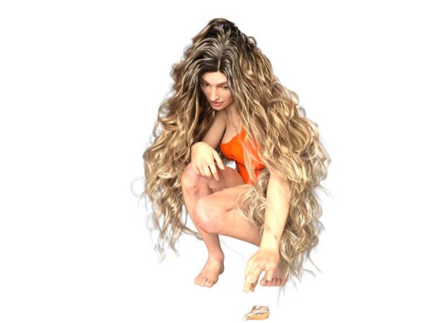 3D Illustration of a Long-Haired Woman Kneeling to Get a Seashell