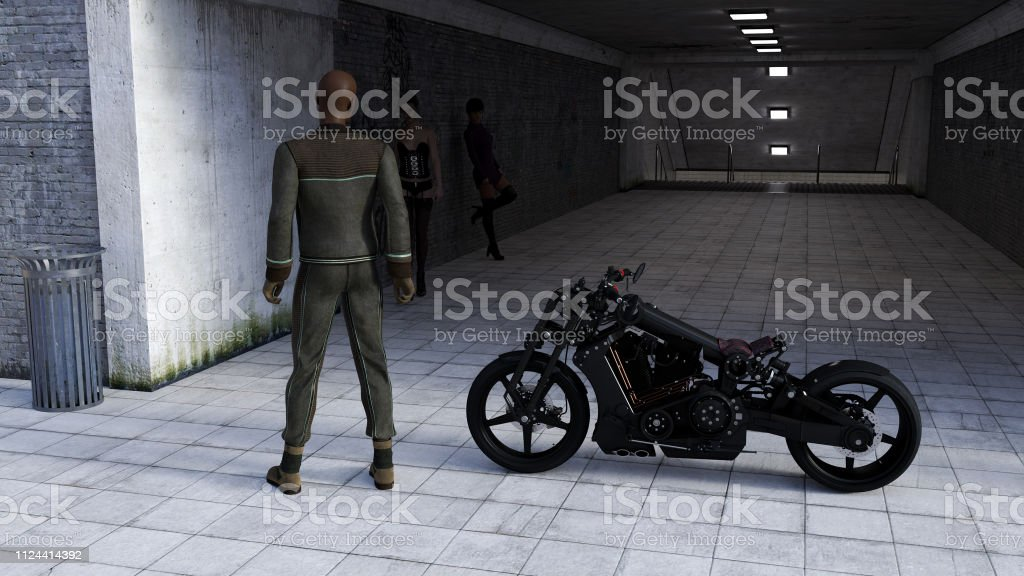 Illustration of a man next to a motorcycle looking back at two women in a dark tunnel entrance. stock photo