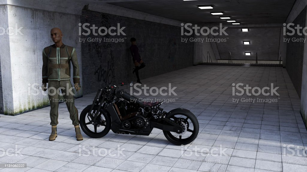 Illustration of a man standing next to a motorcycle looking into the distance with a lone woman in the background inside a dark tunnel entrance. stock photo