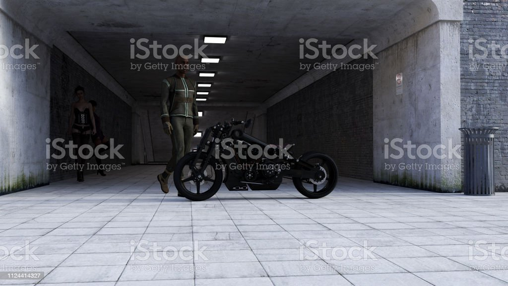 Illustration of a man walking next to a black motorcycle with two women in the background in a dark tunnel entrance. stock photo