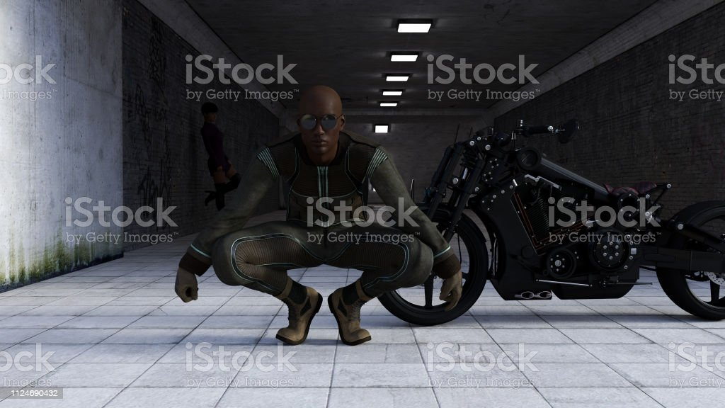 Illustration of a man wearing sunglasses crouching in front of a black motorcycle with woman in the background in a dark tunnel entrance. stock photo