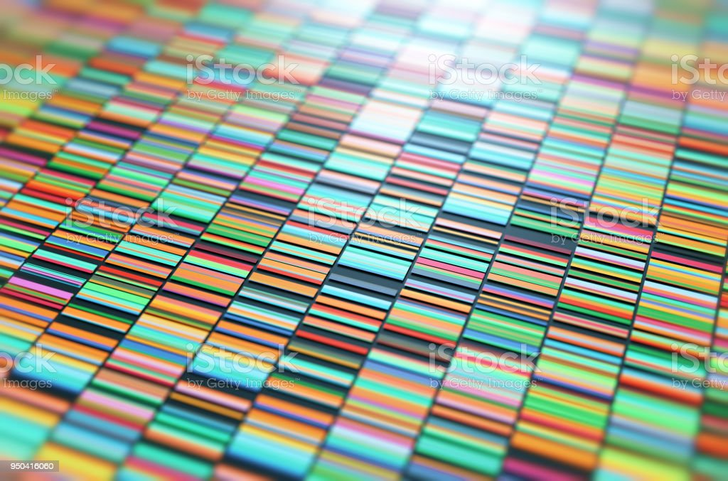 3D Illustration of a method of colored DNA sequencing. stock photo