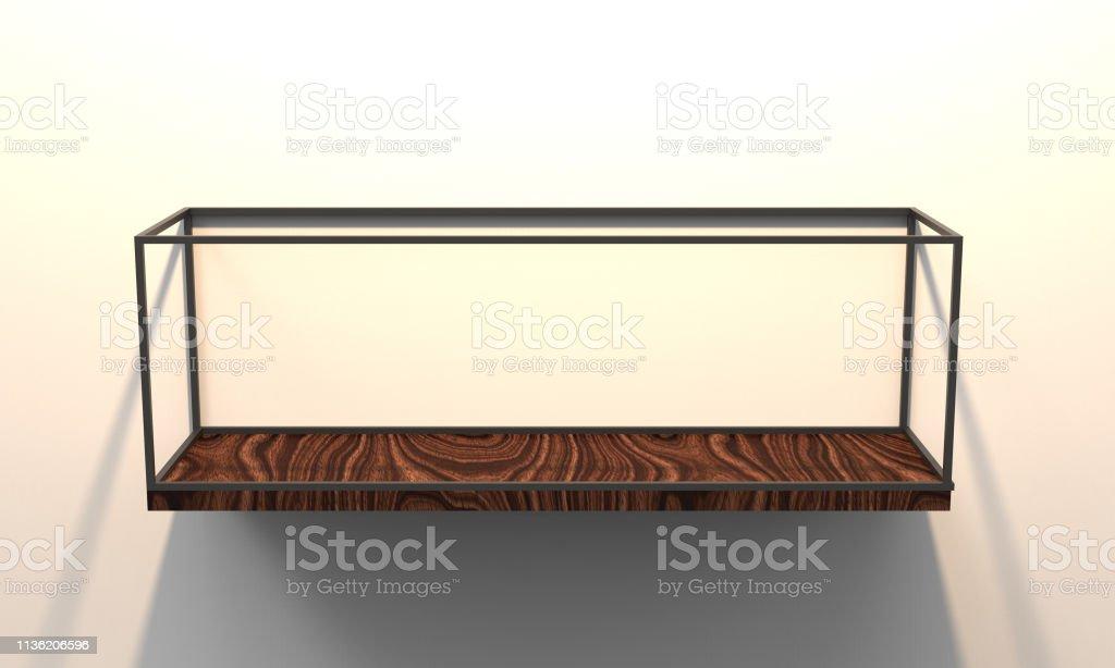 3d illustration of a modern floating shelf on a white background gm