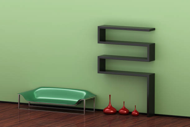 3d abbildung von einem modernen green interieur mit einem sofa und einer reihe von vasen - oliven wohnzimmer stock-fotos und bilder