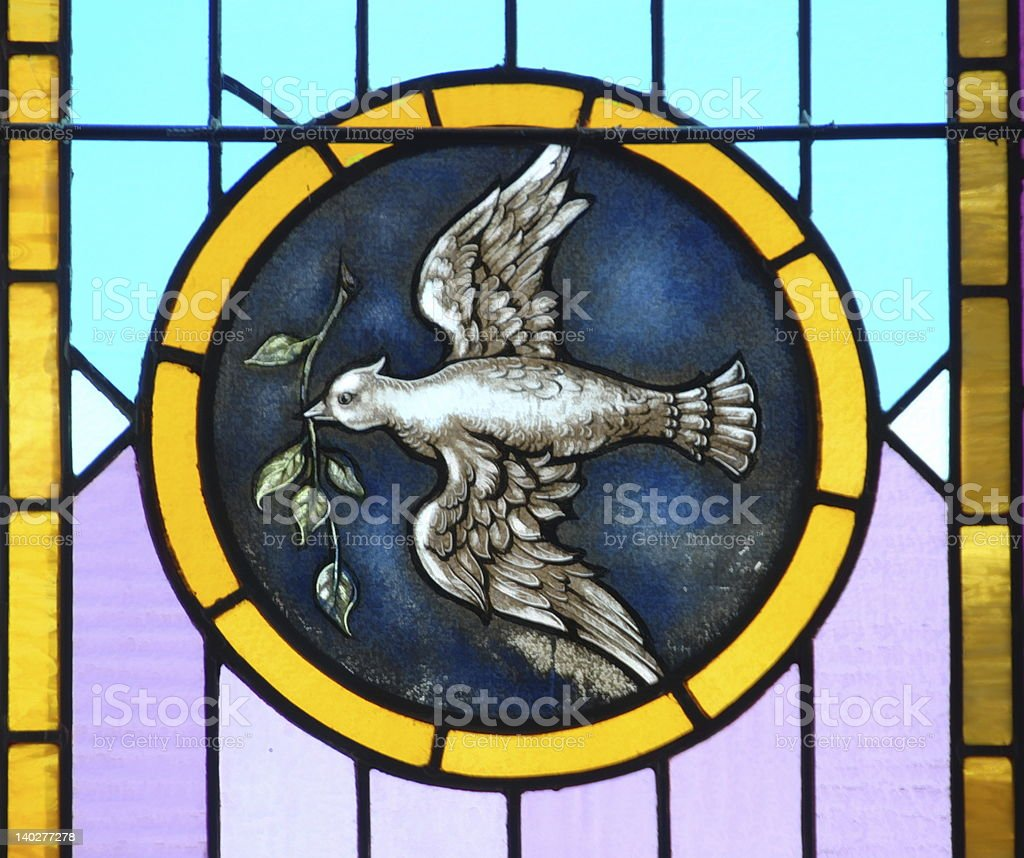Illustration of a mosaic glass with a bird inside a seal stock photo
