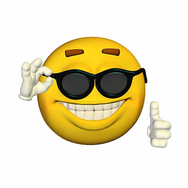 Illustration d'une oool jaune smiley avec des lunettes de soleil - Photo
