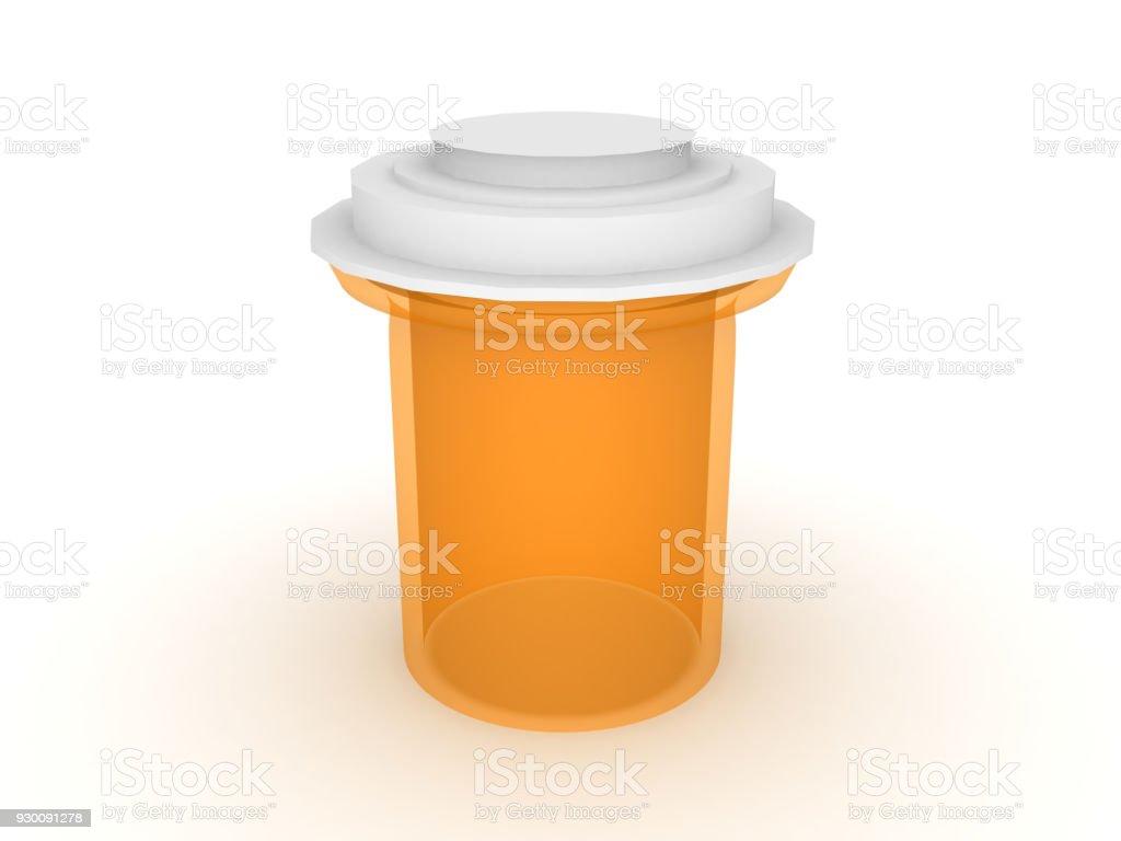 3D illustration of a orange medicine drug vial container stock photo