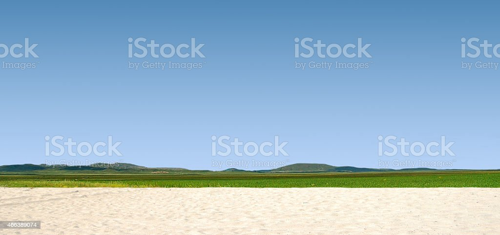 Illustration of a panoramic landscape. stock photo