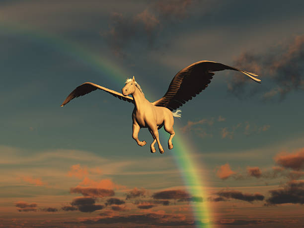 illustration of a pegasus - pegasus stock photos and pictures