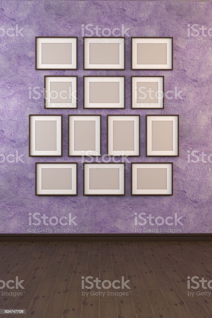 3D illustration of a picture on a wall stock photo