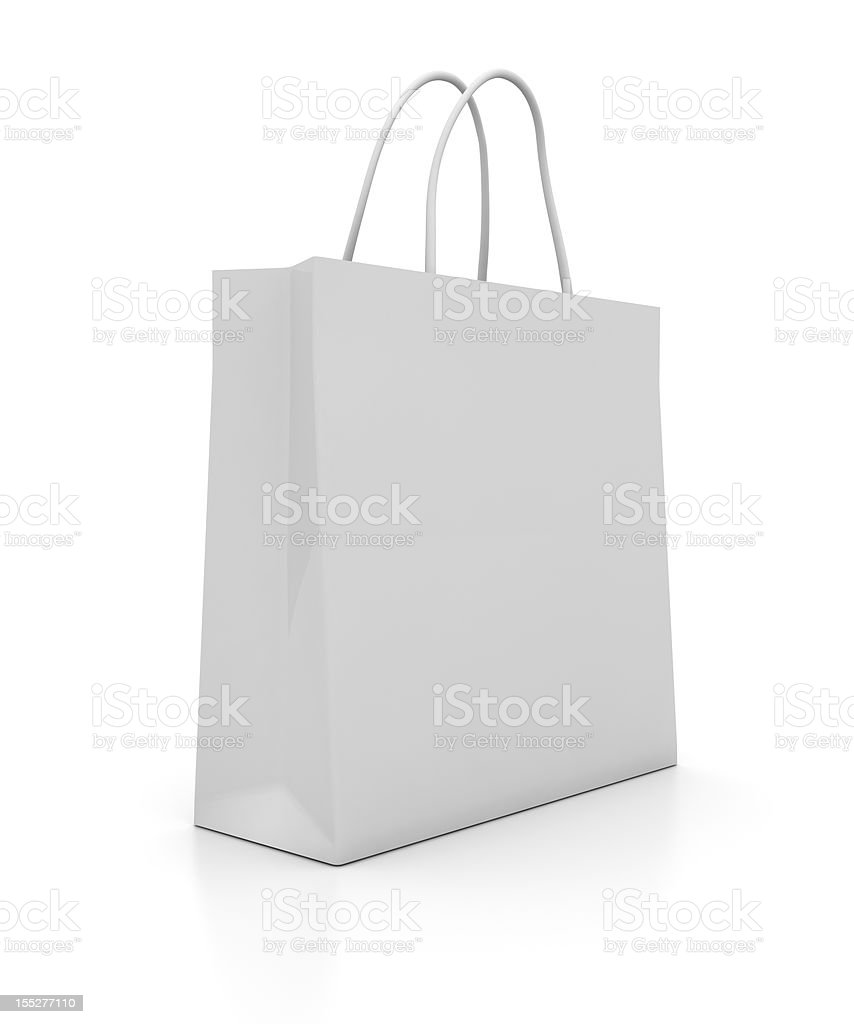 Illustration of a plain white shopping bag stock photo