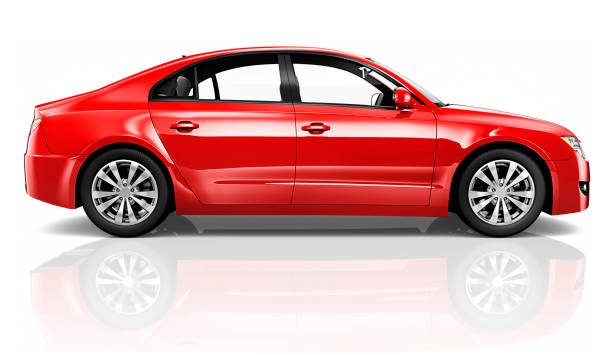 illustration of a red car - side view stock photos and pictures