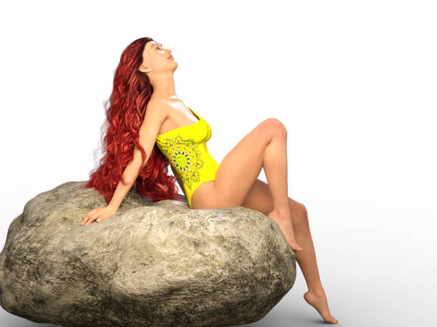 3D Illustration of a Red Head Sitting on a Rock