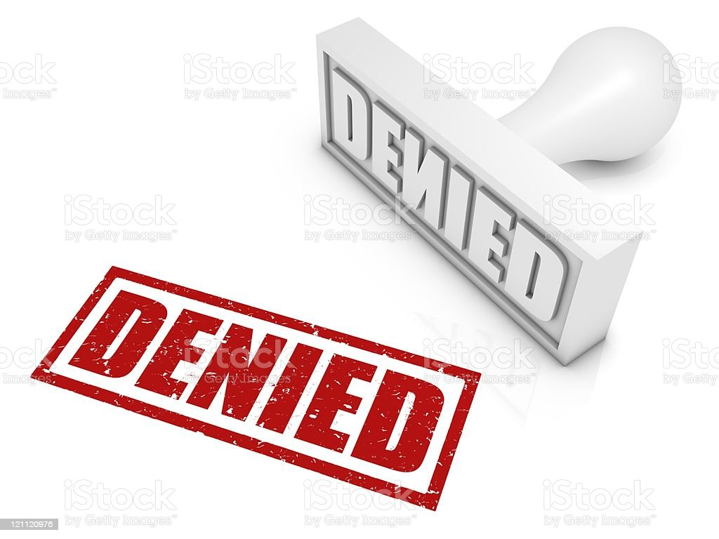 Illustration of a red stamp reading DENIED  royalty-free stock photo