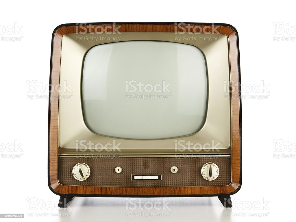 3D illustration of a retro tv on a white background stock photo
