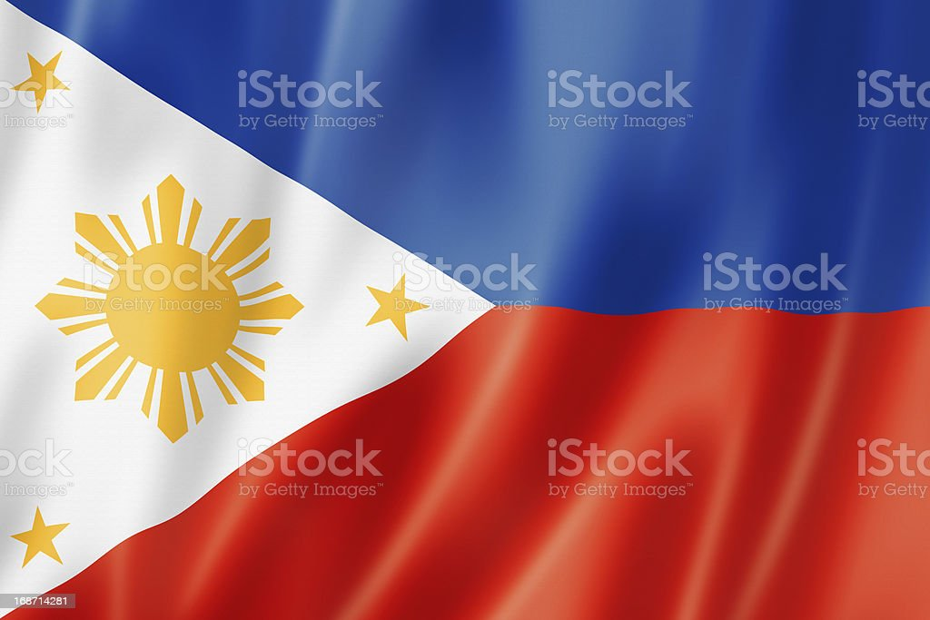 Illustration of a ripping Philippines flag stock photo