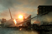 3D Illustration of a Ruins of a city. Apocalyptic landscape. apocalyptic sunset concept