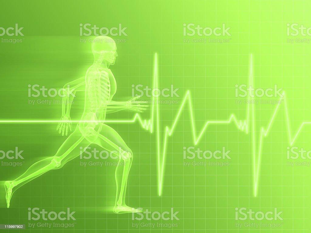 Illustration of a running skeleton and cardiac monitoring royalty-free stock photo
