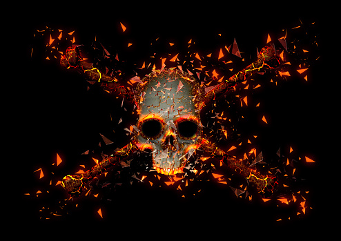 3D illustration of a skull with scattered debris