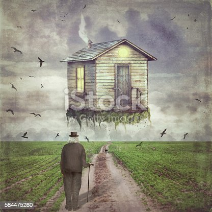 istock Illustration of a  small house  in   sky  above  glade 584475260
