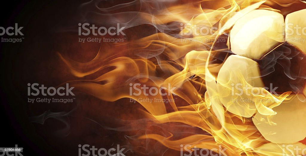 Illustration of a soccer ball engulfed in flames royalty-free stock photo