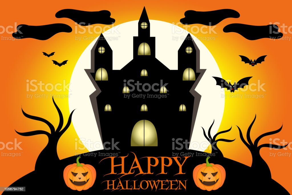 Castello Halloween.Illustrazione Di Un Castello Spettrale Di Halloween Stock Photo