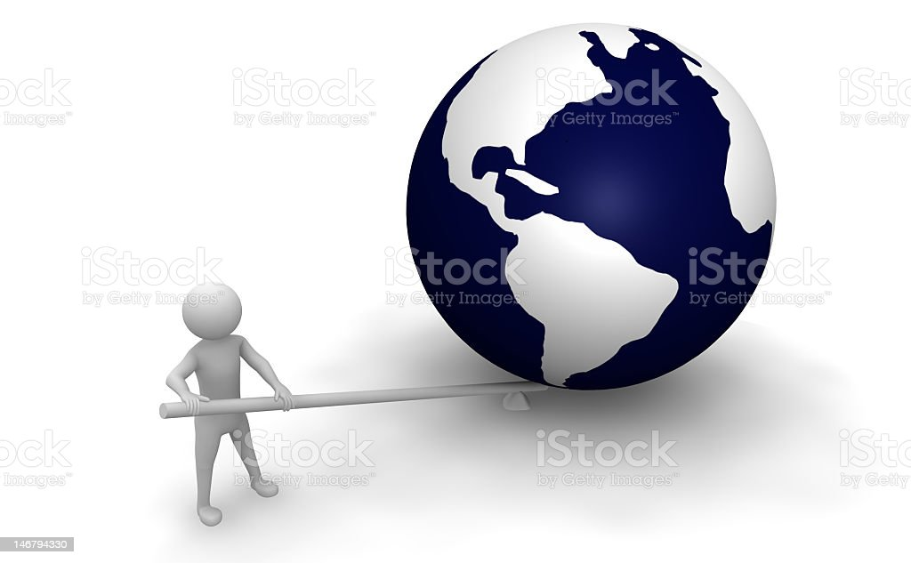 3D illustration of a stick figure lifting the globe stock photo