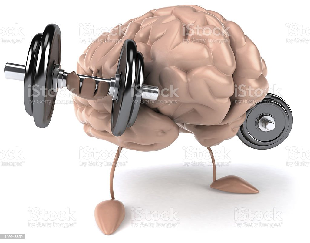 Illustration of a strong brain lifting dumbbells royalty-free stock photo