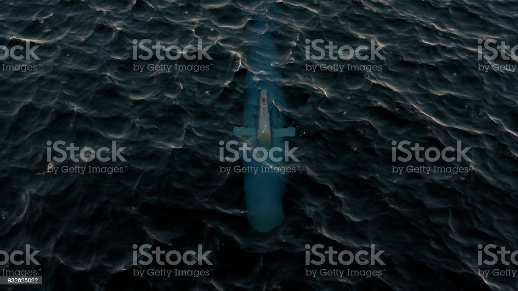 3D Illustration of a submarine patrolling just below the water's surface stock photo