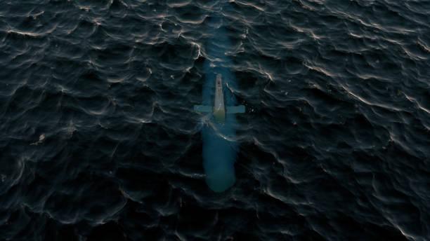 ilustración 3d de un submarino de patrulla justo debajo de la superficie del agua - submarino fotografías e imágenes de stock