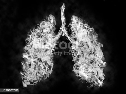 Illustration of a toxic smoke in Lung . cancer or illness concept