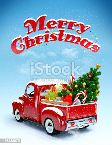 istock Illustration of a truck with Christmas items in its bed 456533875