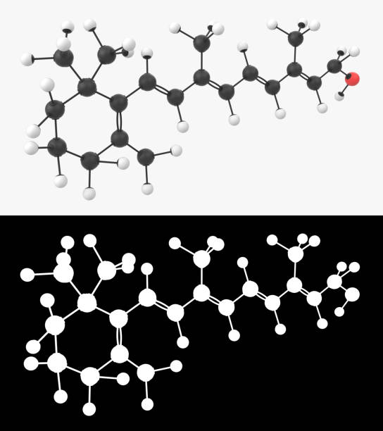 3D illustration of a vitamin A molecule with alpha layer stock photo