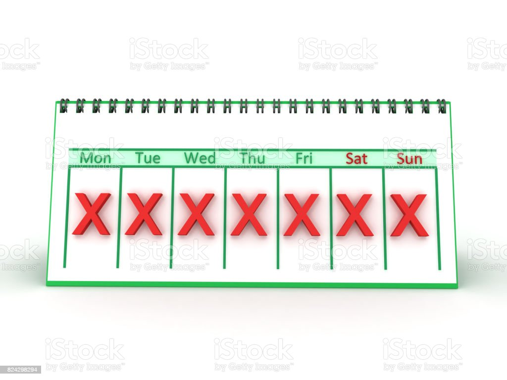 3D illustration of a weekly calendar with a red X marked on all days stock photo