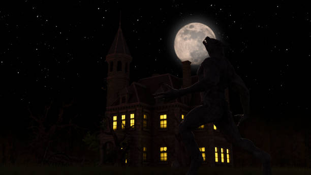 Illustration of a werewolf during the full moon near a house in the creepy forest stock photo