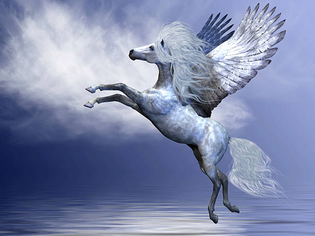 illustration of a white pegasus over a blue white background - pegasus stock photos and pictures