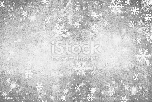 istock Illustration of a Winter Background with Snowflakes 610869234