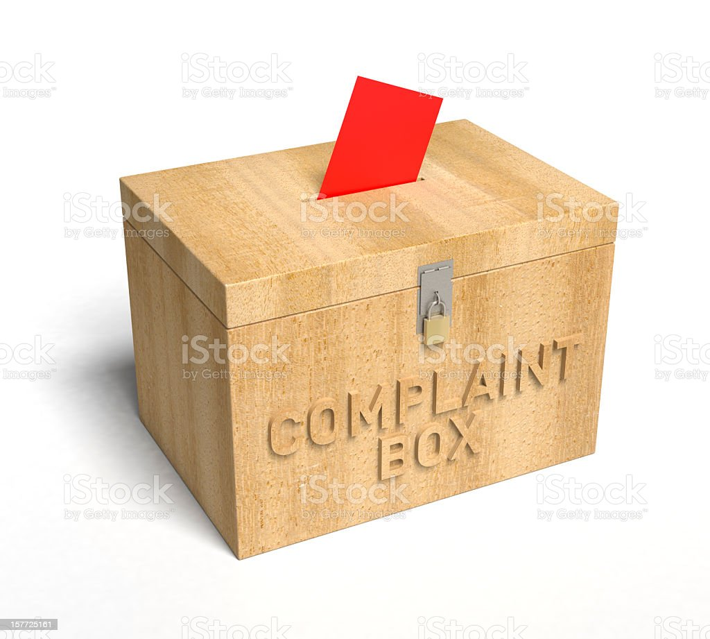 Illustration of a wooden box used for complaint slips royalty-free stock photo