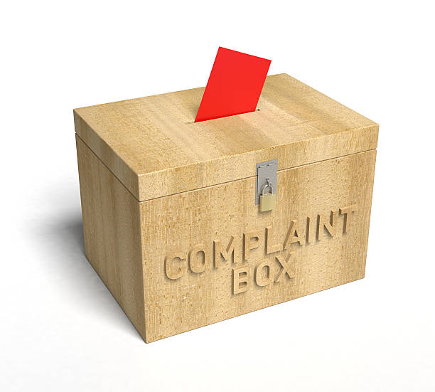 Illustration of a wooden box used for complaint slips stock photo