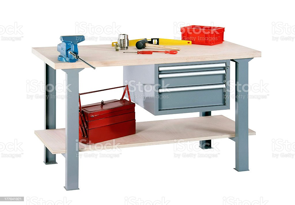 Illustration of a woodworker's workbench stock photo