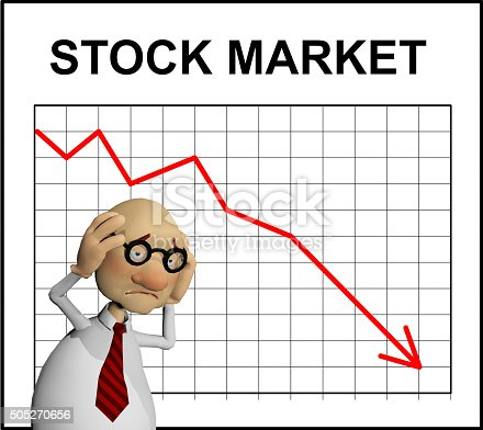 a rendered illustration of a cartoon character worried about the downturn of the stock market shown by a chart behind him