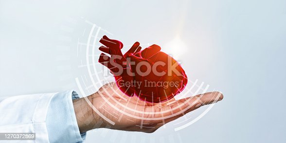 Closeup side view of black doctor holding virtual heart in open palm, panorama, white background