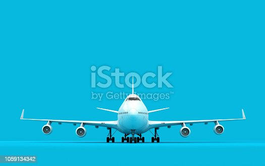 3D illustration of airplane boeing 747 stands still isolated on blue background. Ready to take-off. Front view.