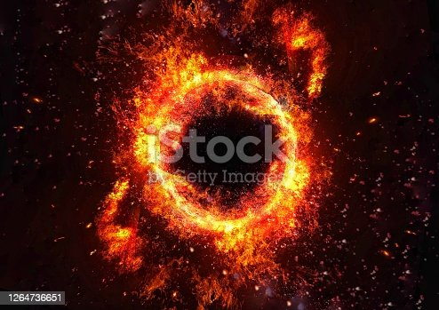 3D illustration of an abstract fire circle illuminating the darkness